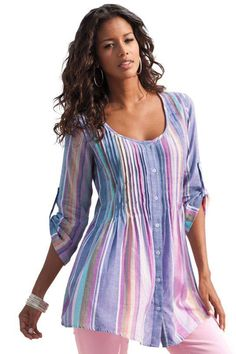 9c00eeca2a6 Cheap Multicolor Pleated Stripe Button Front Tunic only US  9.18