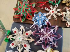 Snowflakes made using a variet of papers.