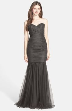 Amsale Strapless Tulle Mermaid Gown | Nordstrom
