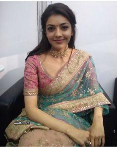 Kajal Aggarwal At Natchathira Vizha In Transparent Green Saree Dress Indian Style, Indian Dresses, Indian Outfits, Indian Attire, Lehenga Designs, Saree Blouse Patterns, Saree Blouse Designs, Indian Beauty Saree, Indian Sarees