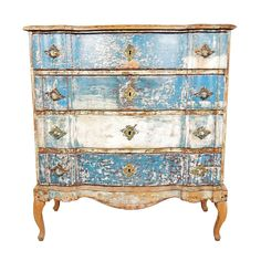 Danish Baroque Painted Chest of Drawers, Late 18c