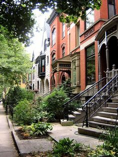 Brownstone houses in New York, love it. Looks so nice