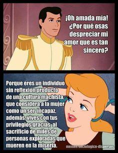 Príncipe machista! No me cuentes cuentos! Disney Memes, Disney Quotes, Love Sarcasm, Zombie Disney, Feminist Quotes, Power Girl, Insta Story, Powerful Women, Vignettes