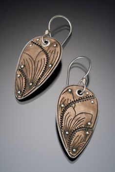 Fragmented and Riveted Lotus Teardrop Earrings....BronzClay over Silver (PMC)....
