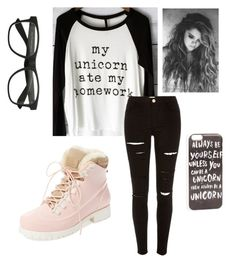 """..my unicorn ate my homework.."" by cayleemay on Polyvore featuring River Island, Australia Luxe Collective and JFR"