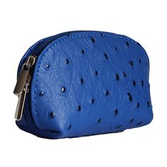 Royal Blue Ostrich Leather Coin Purse - Now with free UK postage!