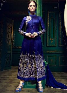 Exciting Royal Blue Banglori Silk With Work Salwar Suit