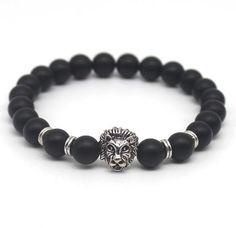 Gold Plated Lion Head Black Lave Stone Beaded Bracelet
