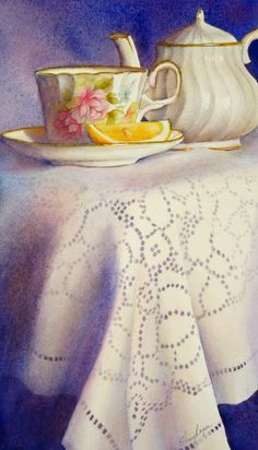Watercolor Painting of Teacup Teapot and Lace by sherryroper