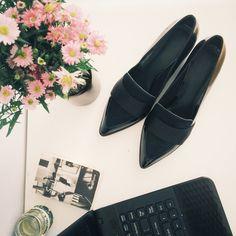 Househair heel pump loafers