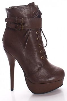 BROWN FAUX LEATHER LACE UP ADJUSTABLE BUCKLE HIGH HEEL BOOTS