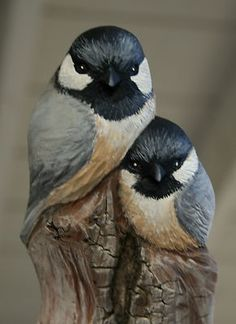 My wood carved chickadees from found wood