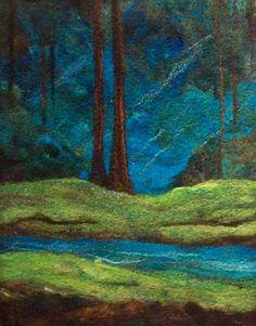 No685 Deep Forest Blues  Needlefelt Art XLarge by Deebs on Etsy, $135.00