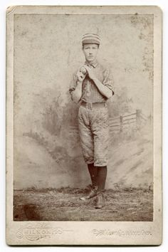 "1880's Cabinet Card of Baseball Player ""Sulivan"" New Albany, Indiana"