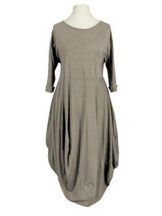 Damen Ballonkleid Baumwolle, taupe von Made in Italy bei www.meinkleidchen.de