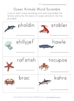 ocean word scramble worksheet