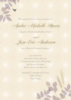 fall wheat wedding invitation