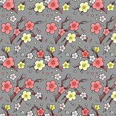 Cherry Blossom in peach and grey fabric by beesocks on Spoonflower - custom fabric