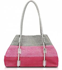 Odetta Tri-Colored Straw Shoulder Bag Purse Tote