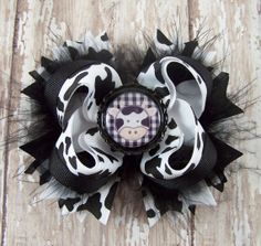 Cow Print Bow Black and White Bow Stacked Fluffy by darlindivas, $7.99