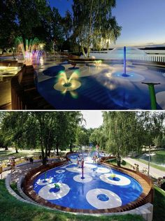 LED lighting idea for splash pad. Summer nights