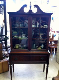 Attractive Circa 1920 1940 Duncan Phyfe Style Glass Door Hutch With Drawer. Glass  CabinetsVintage China ...
