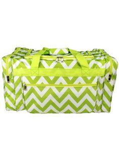 Lemon Green Chevron Duffle Bag