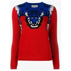 Gucci tiger knit jumper (2.670 BRL) ❤ liked on Polyvore featuring tops, sweaters, red, sequined top, heart sweaters, red heart sweater, crew-neck sweaters and gucci sweater