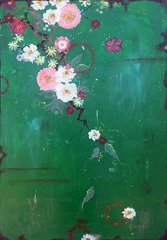 "Kathe Fraga Art, inspired by the romance of vintage silky kimonos and Chinoiserie with a modern twist. ""Midnight Jade"", on frescoed panel, 40x28. www.kathefraga.com"