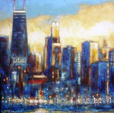 Chicago Skyline painting print on canvas