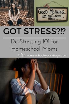 Got Stress?!? - De-Stressing 101 for Homeschool Moms - Got stress? Parenting is stressful. And homeschooling increases our stress load exponentially. It's important to learn to de-stress to maintain our sanity!