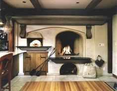 wood burning oven in kitchen