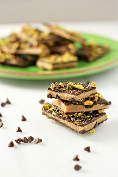 Recipe for dark chocolate pistachio toffee. Buttery, crunchy toffee coated on both sides with dark chocolate and topped with pistachios. Sweet and salty.