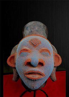 Fine Tribal Lumbo Beaded Terracotta Mask Gabon | eBay