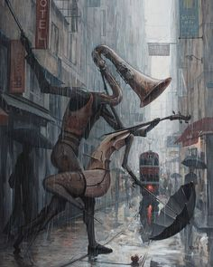 Kai Fine Art is an art website, shows painting and illustration works all over the world. Rain Painting, Surrealism Painting, Umbrella Painting, Music Painting, Pop Surrealism, Art Music, Rain Dance, Dancing In The Rain, Fantasy Kunst
