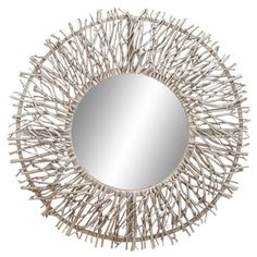 This Metal Wood Mirror is versatile and coordinating to any interior decor.