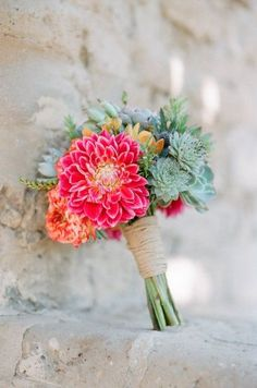 Rustic Hot Pink Dahlia And Succulent Bouquet | http://www.storyboardwedding.com/why-it-works-wednesday-rainbow-hued-dahlia-wedding-flowers/