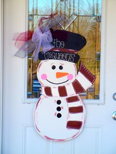 Christmas Snowman Wooden Door Hanger - $30.00 each. Great holiday gift idea! Personalize with your name, favorite Holiday saying and favorite colors! Go to www.facebook.com/SouthernbyDesign to see more items and place your order!