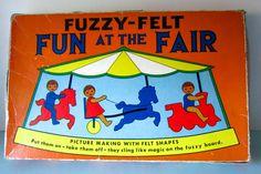 Fuzzy felt, vintage 1970s fuzzy felt, Fun at the fair fuzzy felt, vintage childrens toy, retro toy. by thevintagemagpie01 on Etsy
