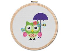 Pretty Owl , Counted Cross stitch, Pattern PDF, Cross Stitch Chart , Cute Cross Stitch, Cross stitch pattern, pixel art, 0219