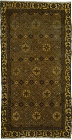 5' 6 x 10' 5 Ferdos Brown Area Rug  Beautiful rug from Iran in the Ferdos design. Contains colors: Brown, Beige, Navy Blue