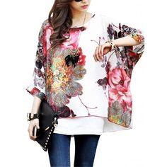 640abb5d1854d4 Women Chiffon Blouse Plus Size Blusas Bohemian Boho Style Floral Print Summer  Tops Shirt for Women Clothing Tops Chiffon Shirts