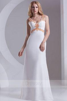 Charming Sheath / Column Floor-length V-neck Zip-up Chiffon White Evening Dresses