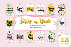 Wedding Gift Tags #love #romantic #tag #gift #gifttag #shopping #shoppingtag #vector #illustration #lettering