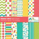 Summer citrus digital papers