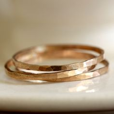 14k Gold Hammered Stacking Rings by Praxis - rustic, refined and beautiful!