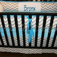It's his name already and everything!  Baby Boy Nursery crib bedding