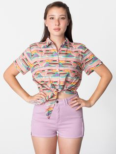 American Apparel - Rayon Mid-Length Tie-Up Blouse