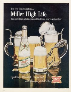 1967 Miller High Life Beer Ad Vintage Advertisement Print Retro Bar / Man Cave  / Bachelor Pad Wall Decor Print