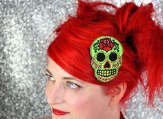 Green Sugar Skull Hair Clip